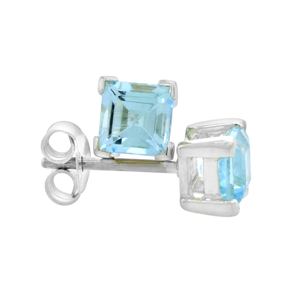 December Birthstone, Natural Blue Topaz 3/4 Carat (5 mm) Size Princess Cut Square Stud Earrings in Sterling Silver Basket Setting