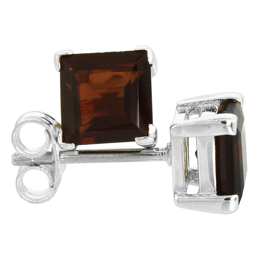 January Birthstone, Natural Garnet 1 1/4 Carat (6 mm) Size Princess Cut Square Stud Earrings in Sterling Silver Basket Setting