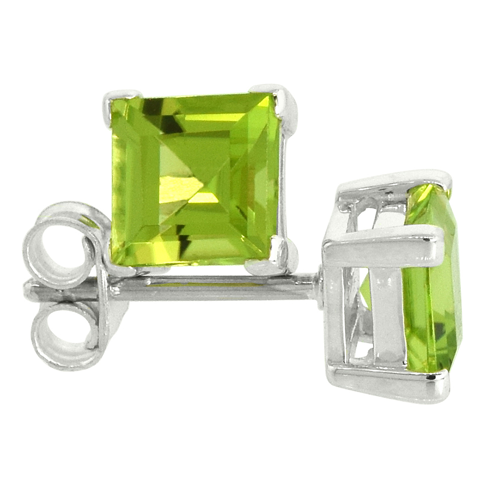 August Birthstone, Natural Peridot 1 1/4 Carat (6 mm) Size Princess Cut Square Stud Earrings in Sterling Silver Basket Setting