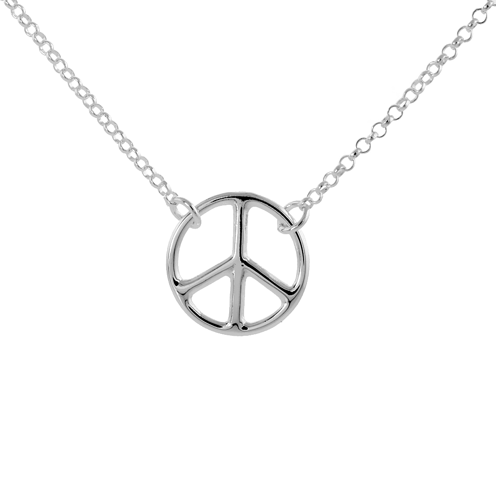 Sterling Silver Peace Necklace, 16 inches