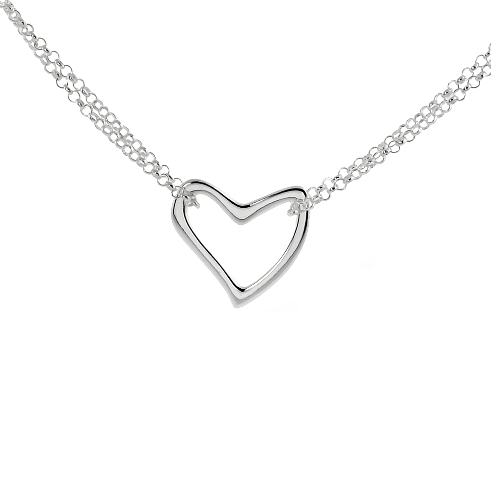 Sterling Silver Small Heart Necklace, 16 inches