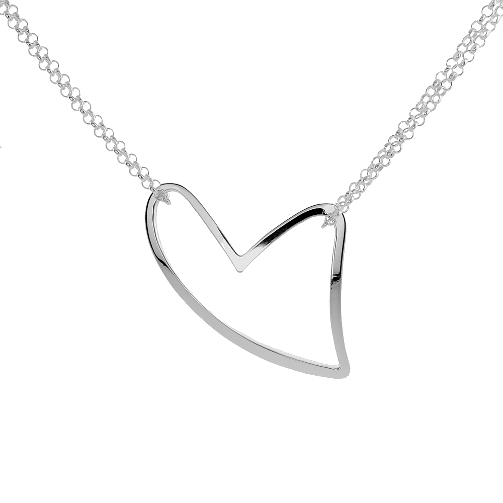 Sterling Silver large Heart Necklace, 16 inches