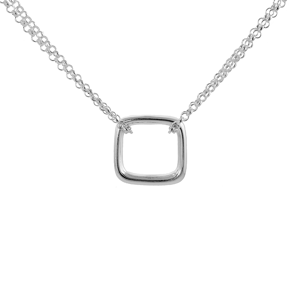Sterling Silver Floating Square Necklace, 16 inches