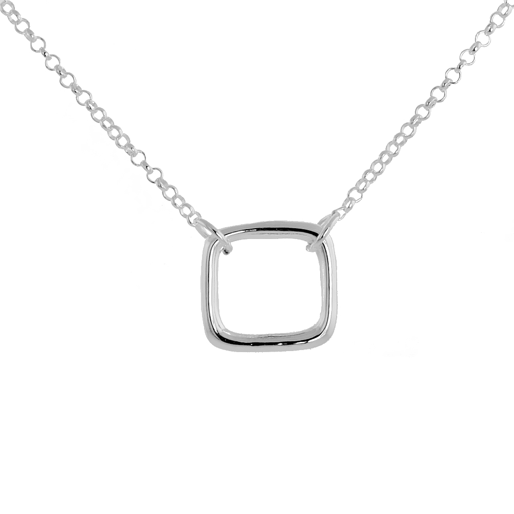 Sterling Silver Square Necklace, 16 inches