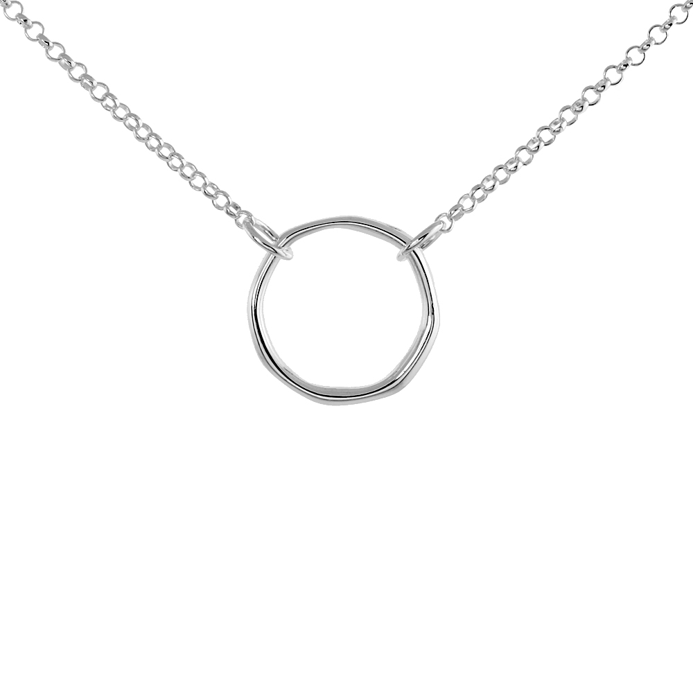 Sterling Silver Circle of Life Necklace, 16 inches
