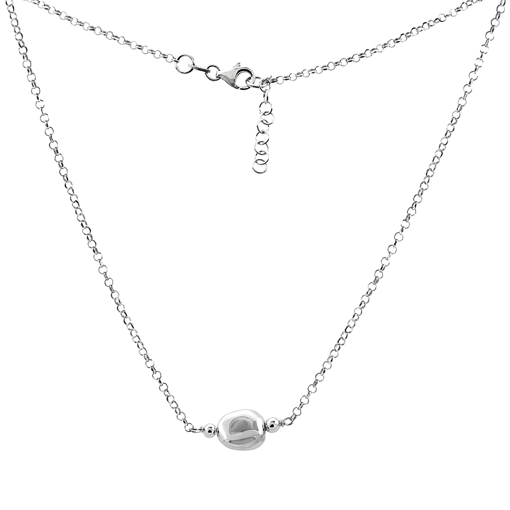 Sterling Silver Single Flat Mirror Bead Necklace, 16 inch long + 1 inch extension