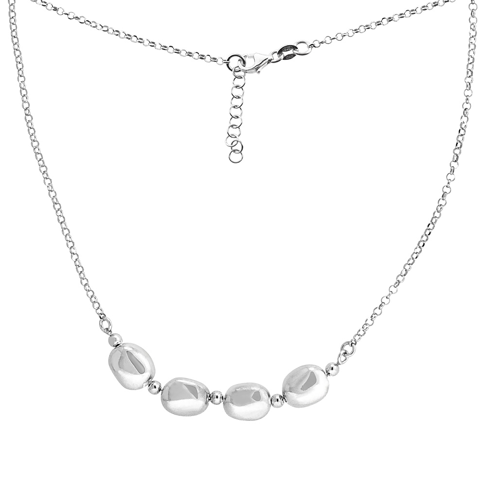 Sterling Silver Flat Mirror Bead Necklace, 16 inch long + 1 inch extension