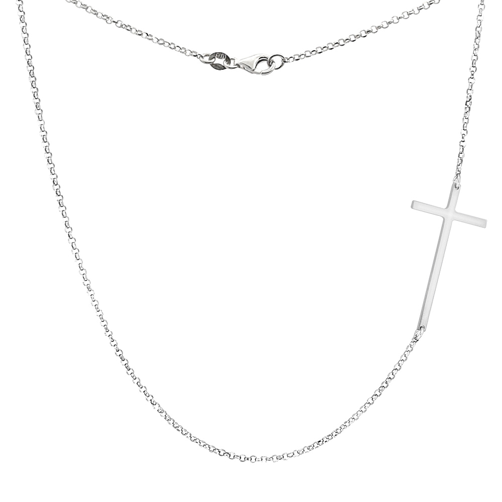 Sterling Silver Sideways Cross Necklace in Yellow, white & Rose Gold Finish Italy, 17.5 inch long