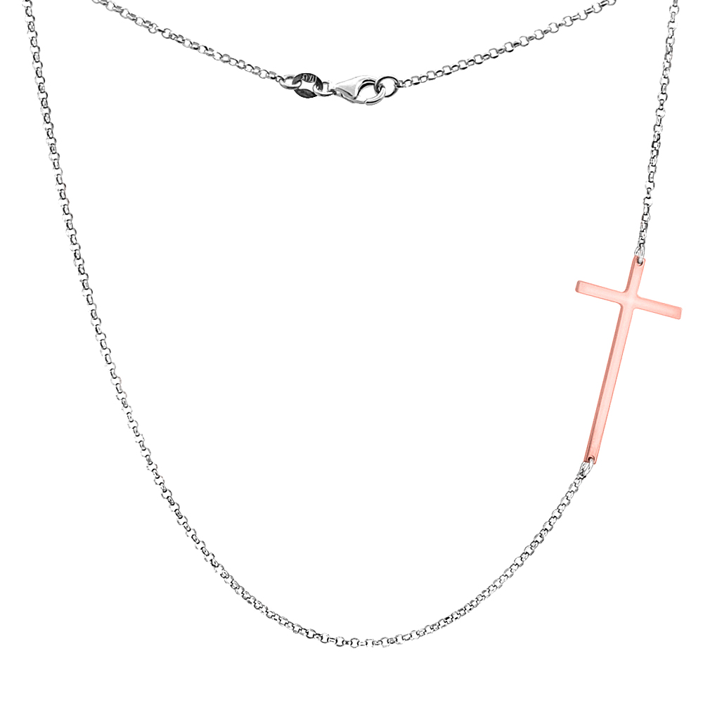 Sterling Silver Sideways Cross Necklace Rose Gold Finish Two-tone Italy, 17.5 inch long