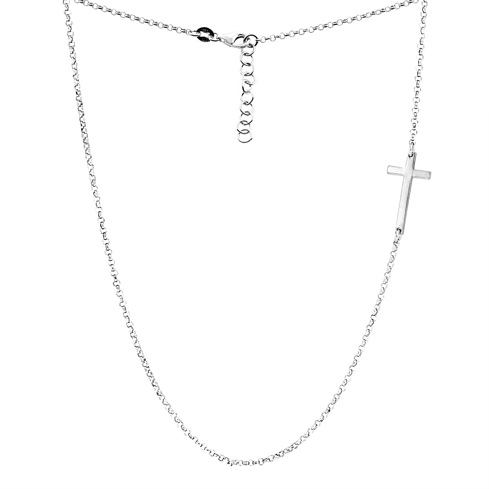 Sterling Silver Small Sideways Cross Necklace Rhodium, Yellow & Rose Gold Finish Italy, 17.5 inch long