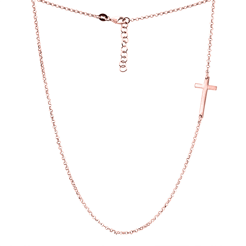 Sterling Silver Small Sideways Cross Necklace Two-tone Rose Gold Finish Italy, 17.5 inch long