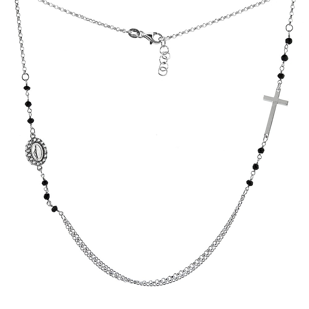 Sterling Silver Miraculous Medal & Cross Necklace Faceted Black Spinel Cubic Zirconia, 19-20 inch