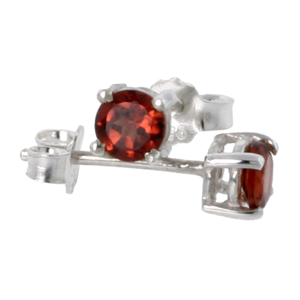 January Birthstone, Natural Garnet 1/4 Carat (4 mm) Size Brilliant Cut Stud Earrings in Sterling Silver Basket Setting
