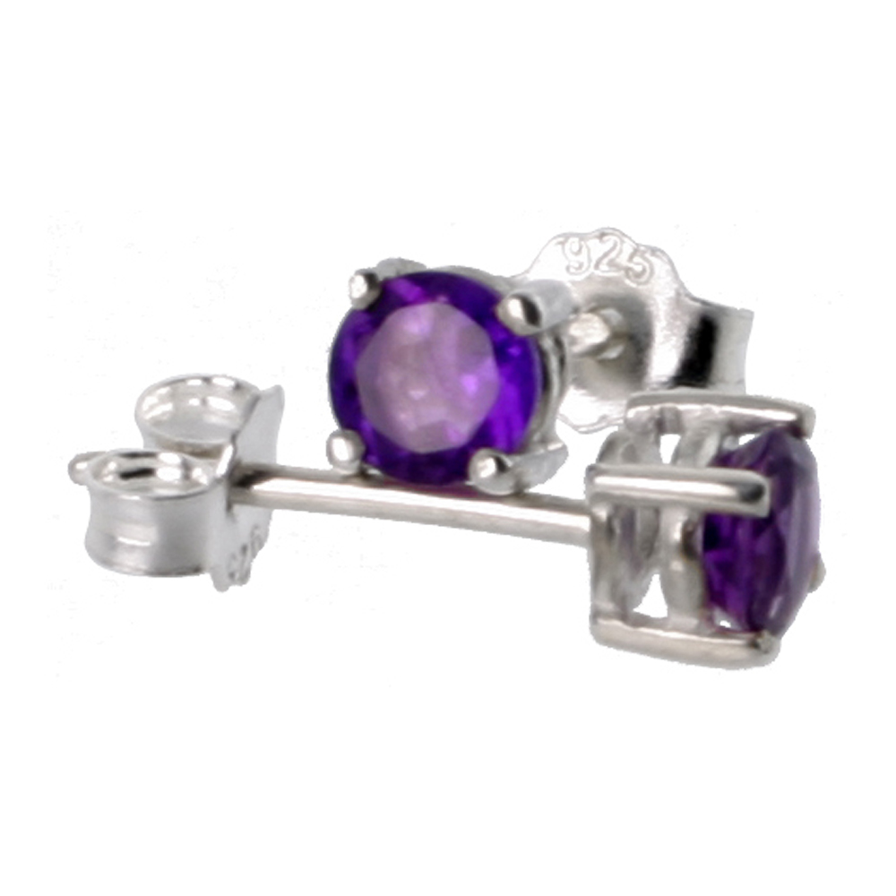 February Birthstone, Natural Amethyst 1/4 Carat (4 mm) Size Brilliant Cut Stud Earrings in Sterling Silver Basket Setting