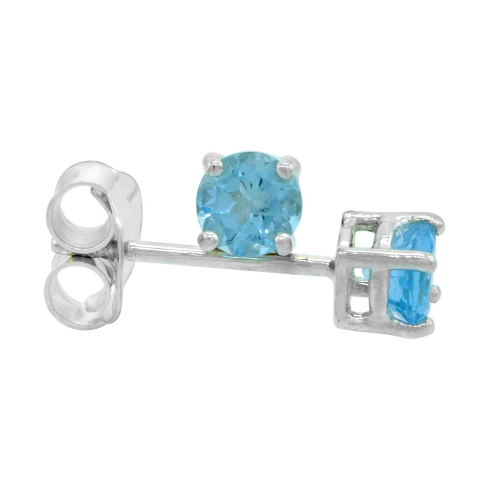 December Birthstone, Natural Blue Topaz 1/4 Carat (4 mm) Size Brilliant Cut Stud Earrings in Sterling Silver Basket Setting