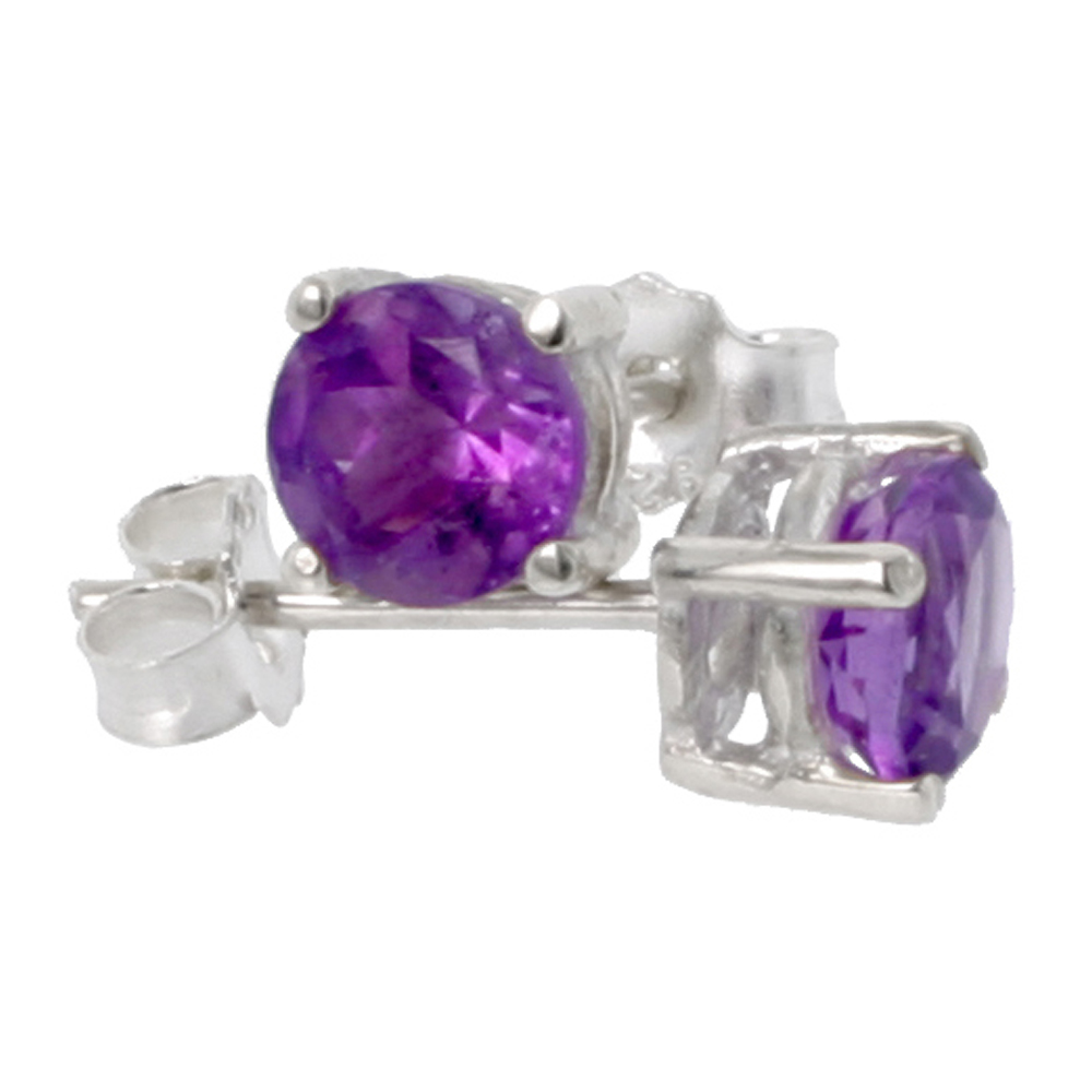 February Birthstone, Natural Amethyst 1/2 Carat (5 mm) Size Brilliant Cut Stud Earrings in Sterling Silver Basket Setting