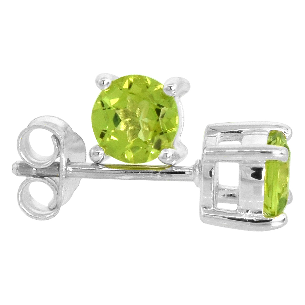 August Birthstone, Natural Peridot 1/2 Carat (5 mm) Size Brilliant Cut Stud Earrings in Sterling Silver Basket Setting