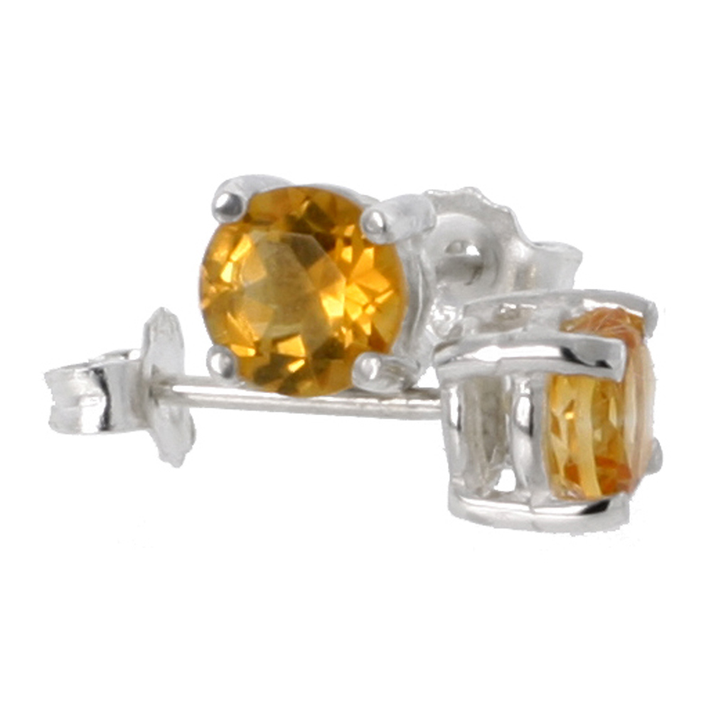 Sterling Silver Natural Citrine Stud Earrings 5mm Round Heavy Basket Setting