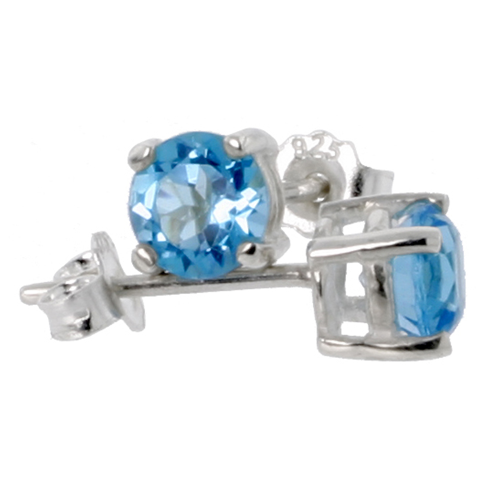 December Birthstone, Natural Blue Topaz 1/2 Carat (5 mm) Size Brilliant Cut Stud Earrings in Sterling Silver Basket Setting