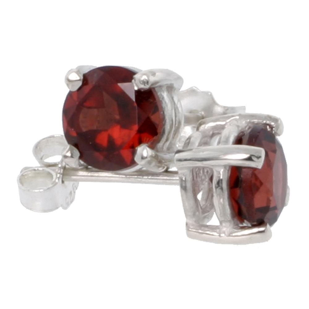 January Birthstone, Natural Garnet 1 Carat (6 mm) Size Brilliant Cut Stud Earrings in Sterling Silver Basket Setting