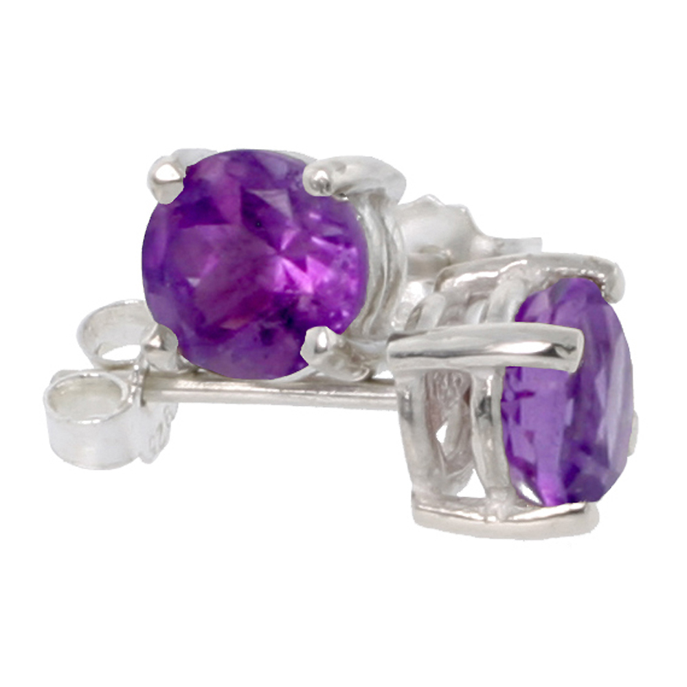 February Birthstone, Natural Amethyst 1 Carat (6 mm) Size Brilliant Cut Stud Earrings in Sterling Silver Basket Setting