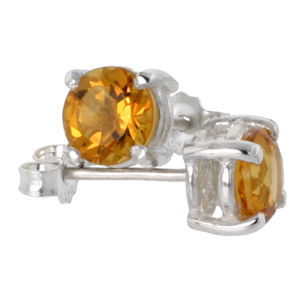 Sterling Silver Natural Citrine Stud Earrings 6mm Round Heavy Basket Setting