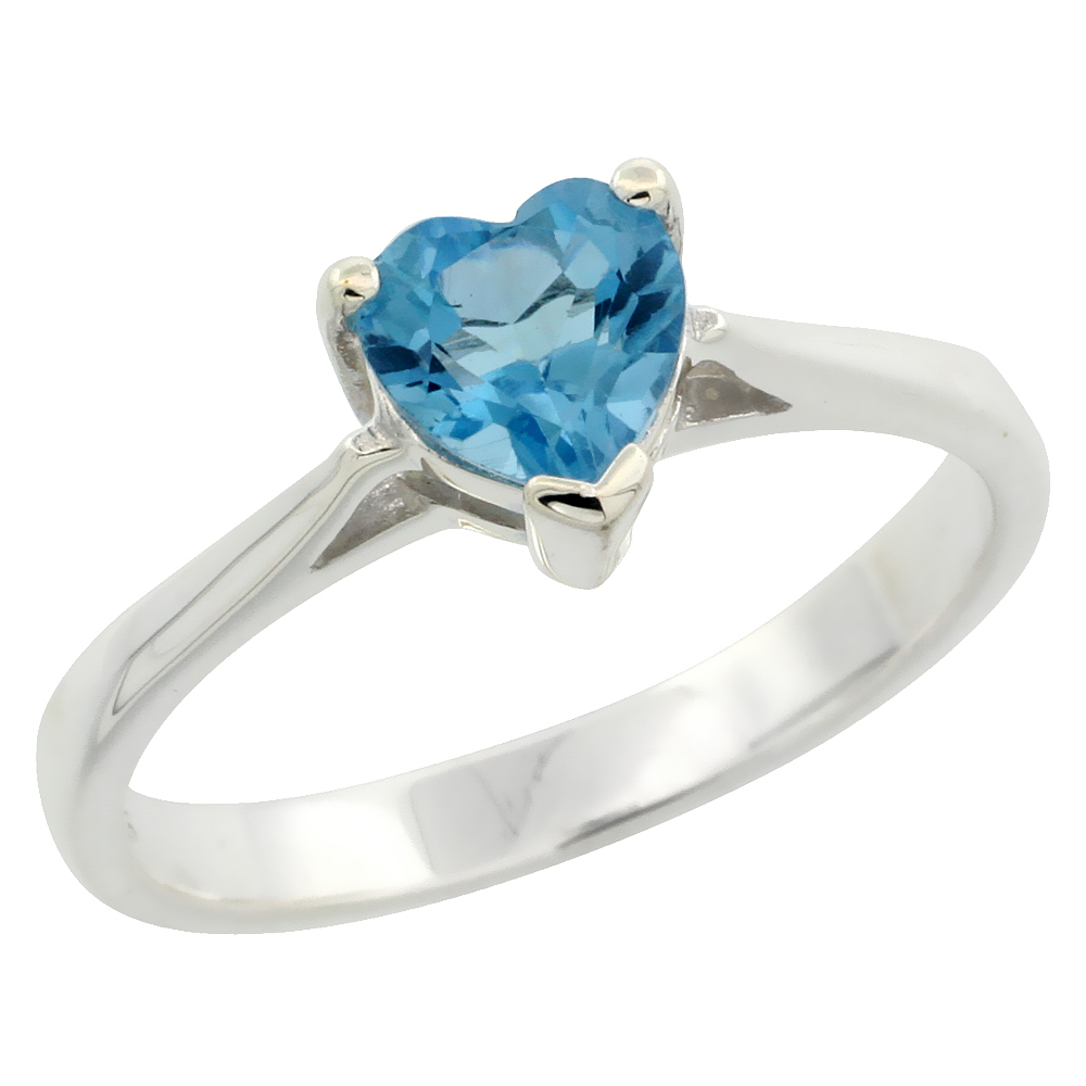 Sterling Silver Blue Topaz 1 ct Heart Solitaire Ring 1/4 inch wide, sizes 6 - 10