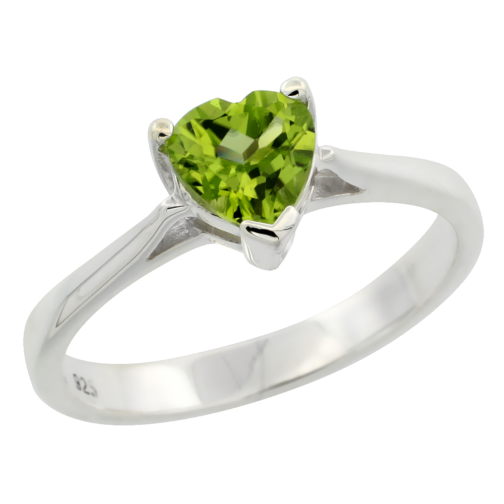 Sterling Silver Peridot 3/4 ct Heart Solitaire Ring 1/4 inch wide, sizes 6 - 10