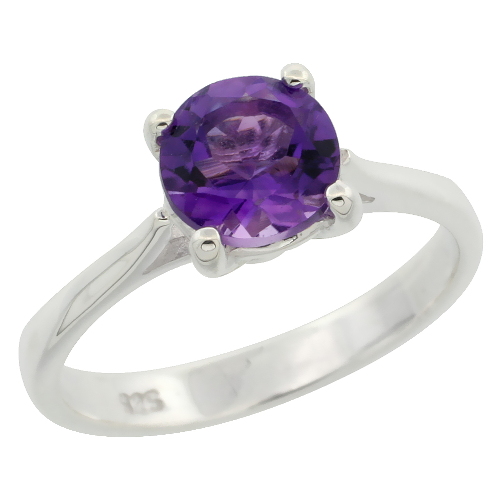 Sterling Silver Amethyst 1 1/4 ct Solitaire Ring 1/4 inch wide, sizes 6 - 10