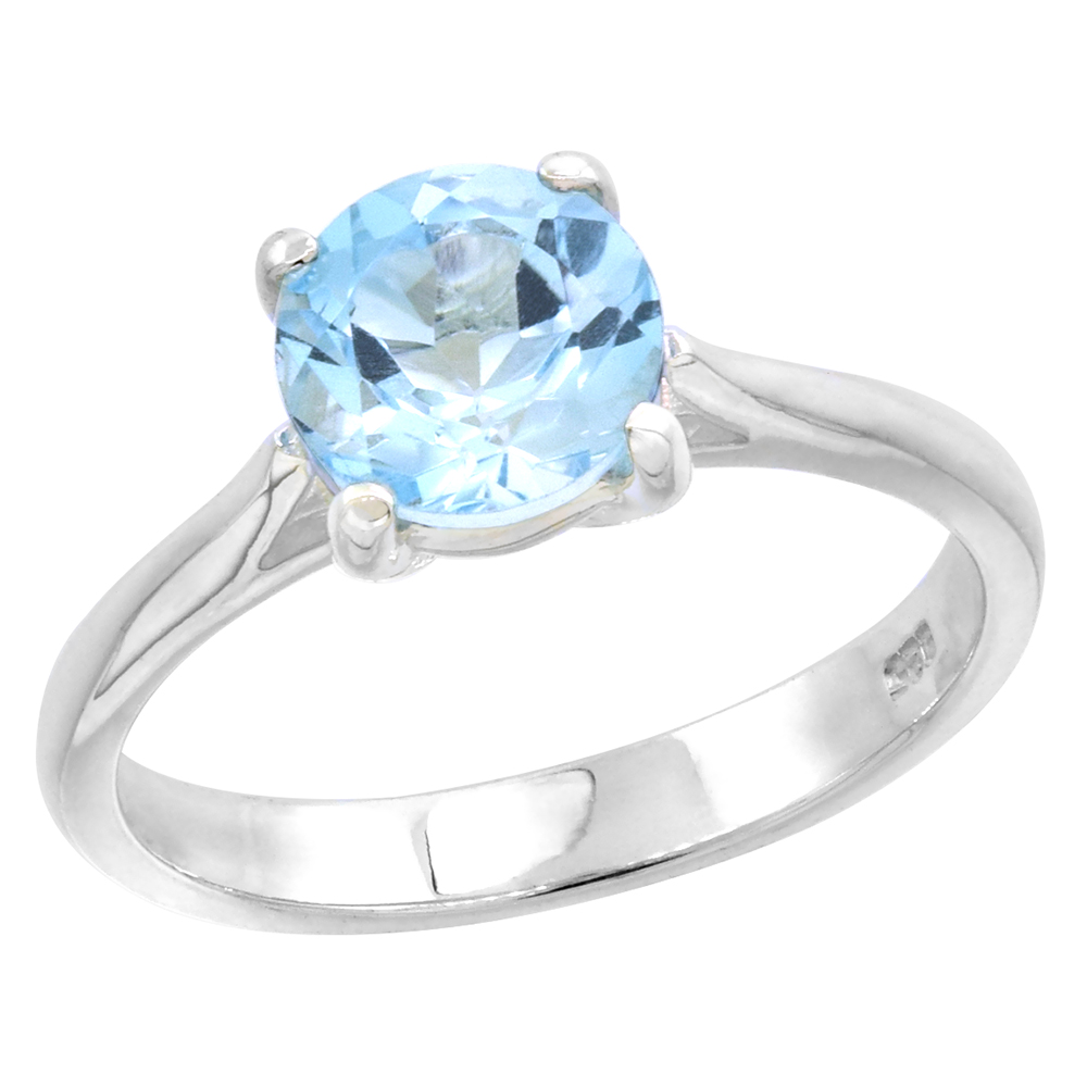 Sterling Silver Blue Topaz 1 1/2 ct Solitaire Ring 1/4 inch wide, sizes 6 - 10