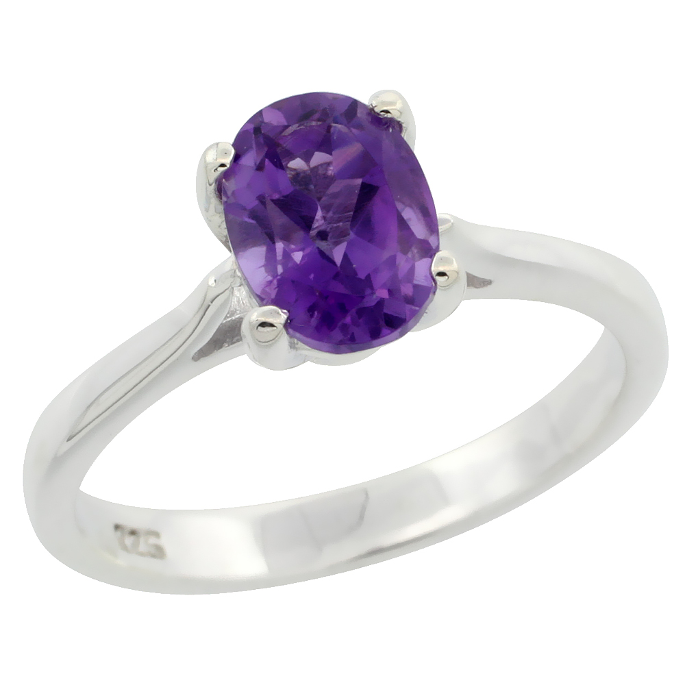 Sterling Silver Amethyst 1.1 ct Oval Solitaire Ring 5/16 inch wide, sizes 6 - 10