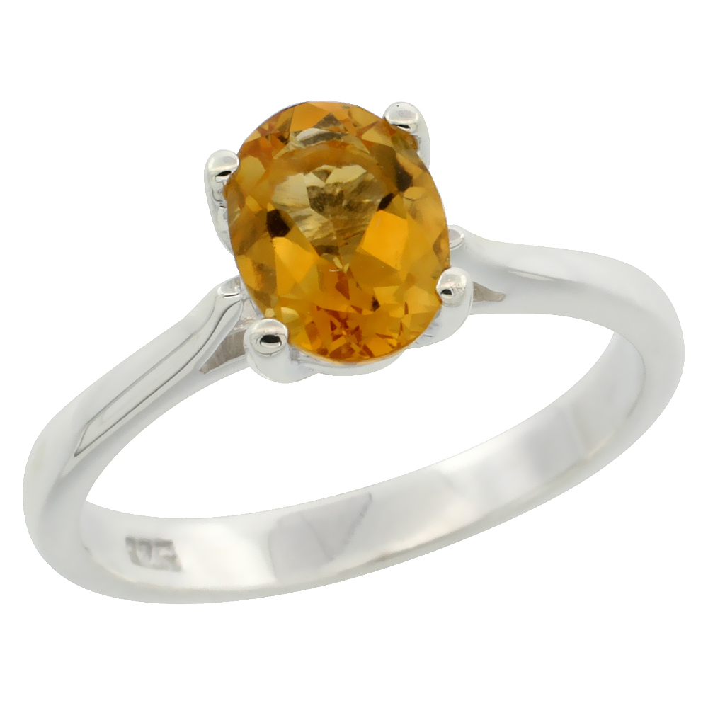 Sterling Silver Citrine Solitaire Ring 1.1 ct Oval 5/16 inch wide, sizes 6 - 10
