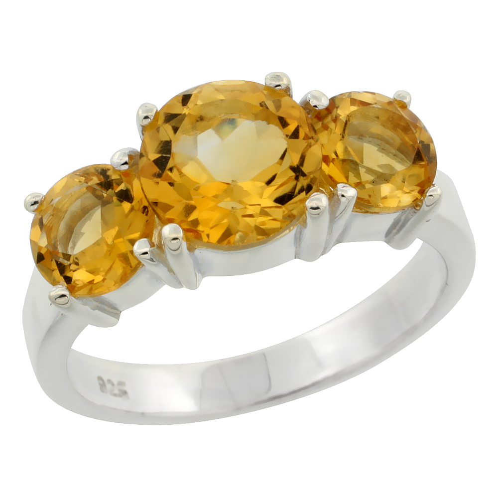 Sterling Silver Citrine 3-Stone Ring 3.15 cttw 5/16 inch wide, sizes 6 - 10