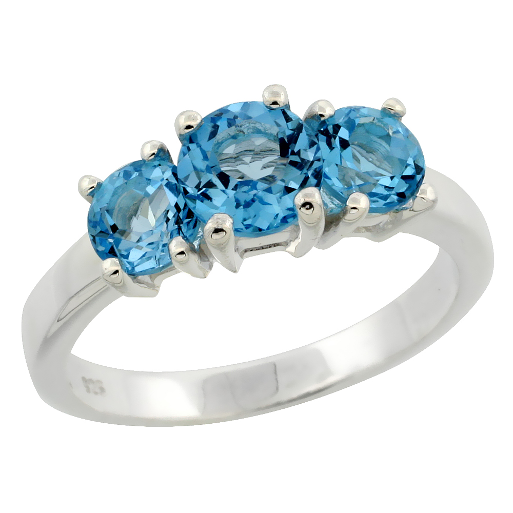 Sterling Silver Blue Topaz 3-Stone Ring 2 cttw 1/4 inch wide, sizes 6 - 10