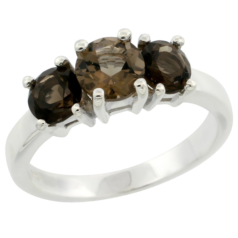 Sterling Silver Smoky Topaz 3-Stone Ring with Natural Smoky Topaz 2 cttw 1/4 inch wide, sizes 6 - 10