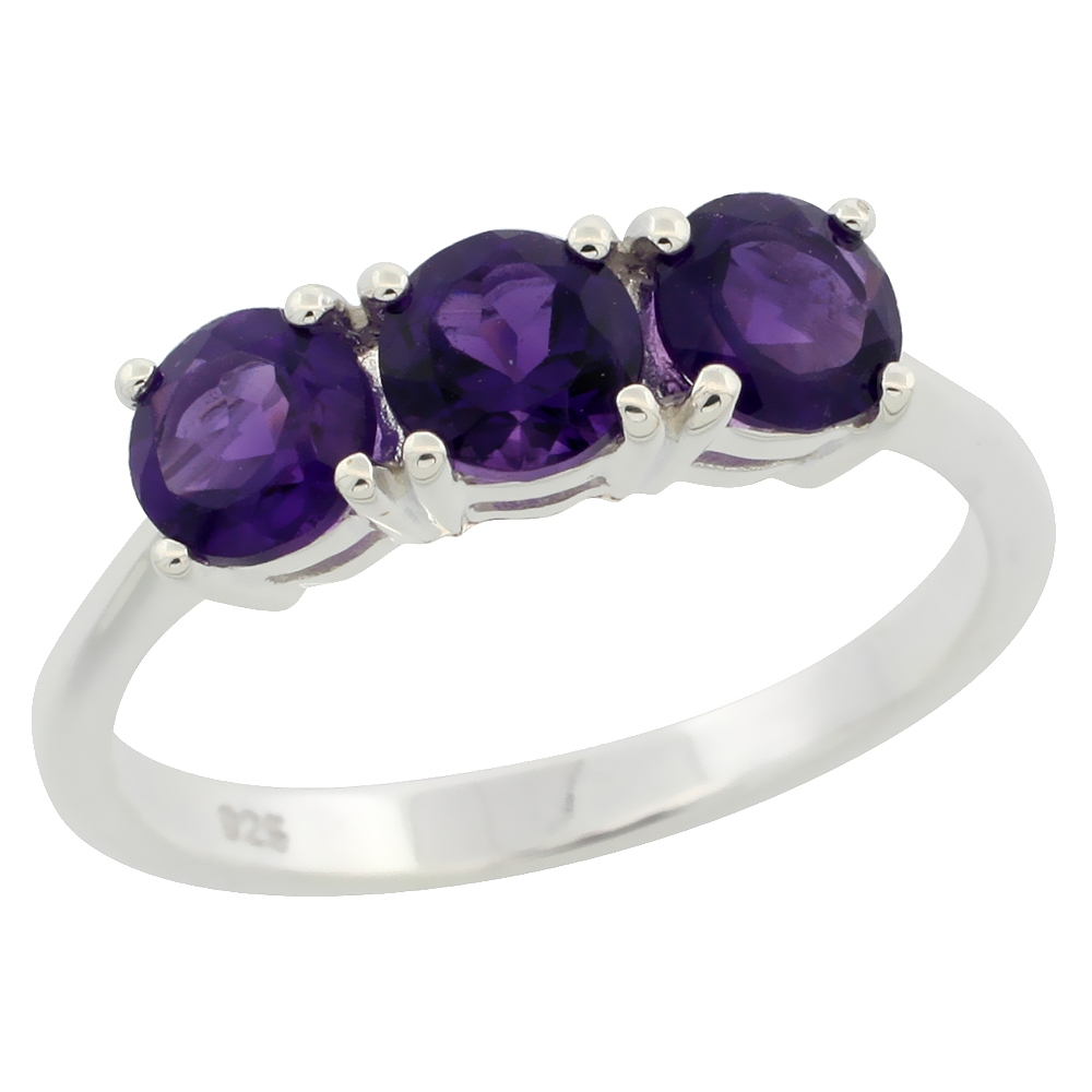 Sterling Silver 5mm Amethyst 3-Stone Ring 2 cttw 3/16 inch wide, sizes 6 - 10