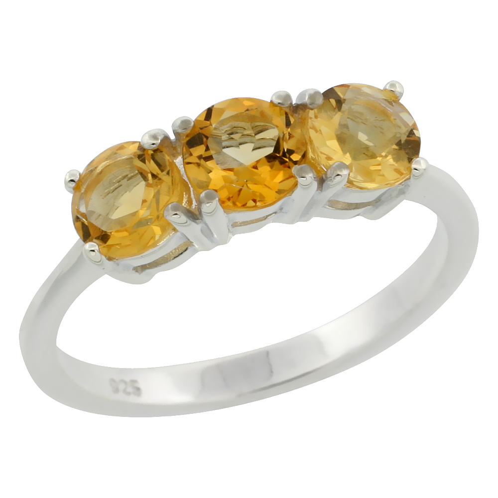 Sterling Silver Citrine 5mm 3-Stone Ring 2 cttw 3/16 inch wide, sizes 6 - 10