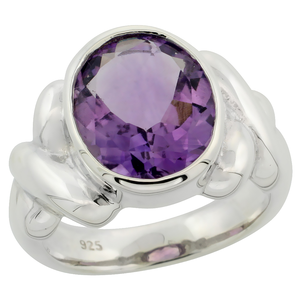 Sterling Silver Amethyst Hugs & Kisses Ring 4.5 ct 1/2 inch wide, sizes 6 - 10