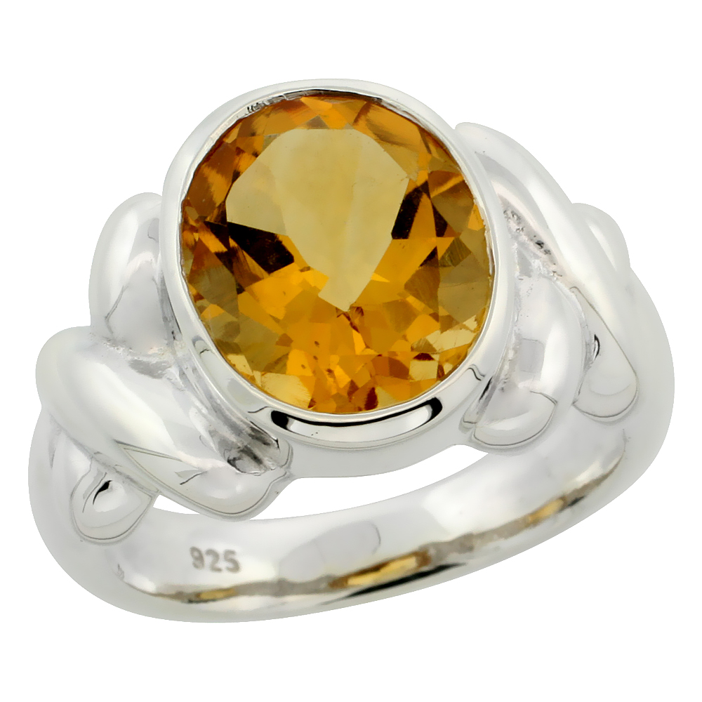 Sterling Silver Citrine Hugs & Kisses Ring 4.5 ct 1/2 inch wide, sizes 6 - 10