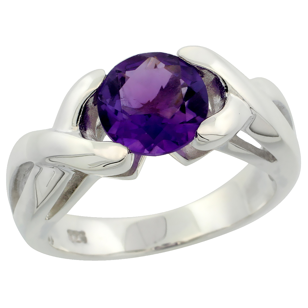 Sterling Silver Amethyst Hugs & Kisses Ring 1.85 ct 5/16 inch wide, sizes 6 - 10