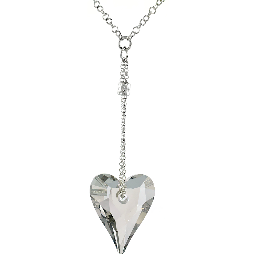 Sterling Silver Clear Swarovski Crystal Heart Dangle Pendant 16 in. Rolo Chain Link Necklace