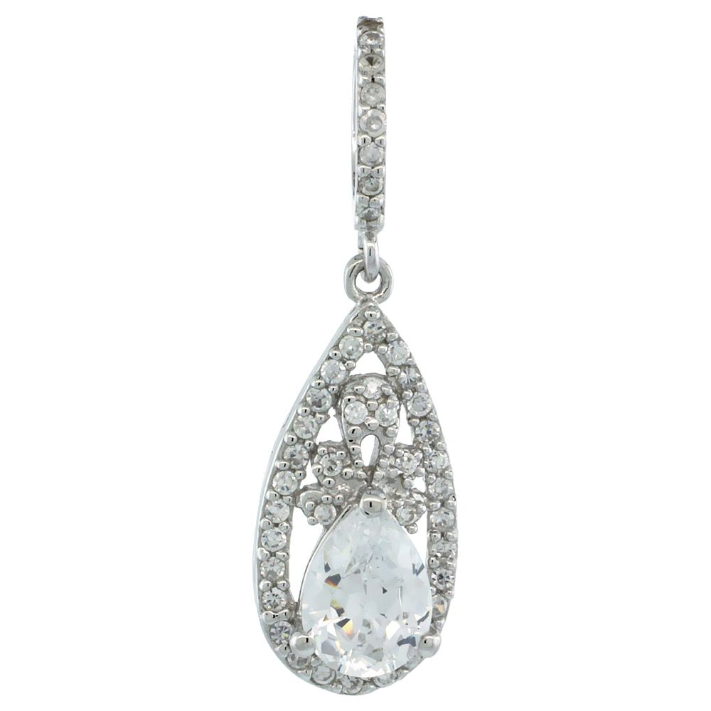 Sterling Silver Pear-shaped Floral Pendant w/ Cubic Zirconia Stones, 13/16 in. (21 mm) tall
