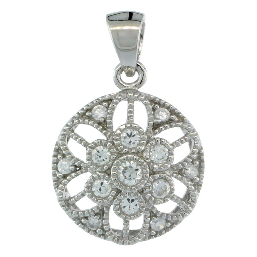 Sterling Silver Round Floral Flower Pendant w/ Cubic Zirconia Stones, 9/16 in. (14 mm)