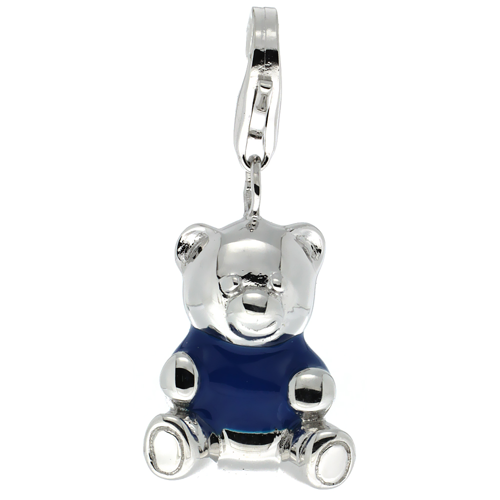 Sterling Silver Teddy Bear Charm for Bracelet, 13/16 in. (21 mm) tall, Blue Enamel Finish