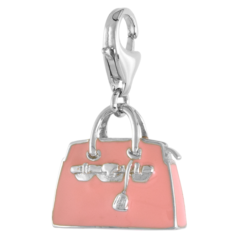 Sterling Silver Hand Bag Purse Charm for Bracelet, 9/16 in. (15 mm) tall, Pink Enamel Finish