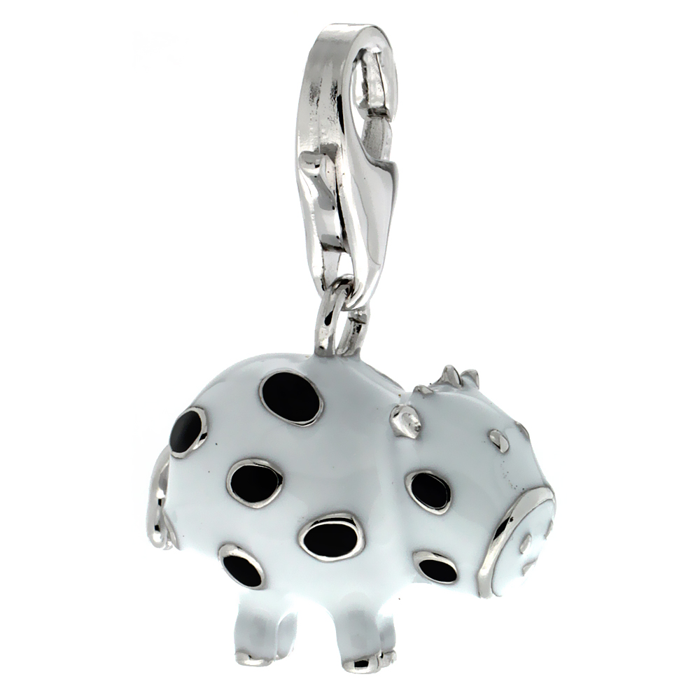 Sterling Silver Polka Dot Cow Charm for Bracelet, 9/16 in. (14.5 mm) tall, Enamel Finish