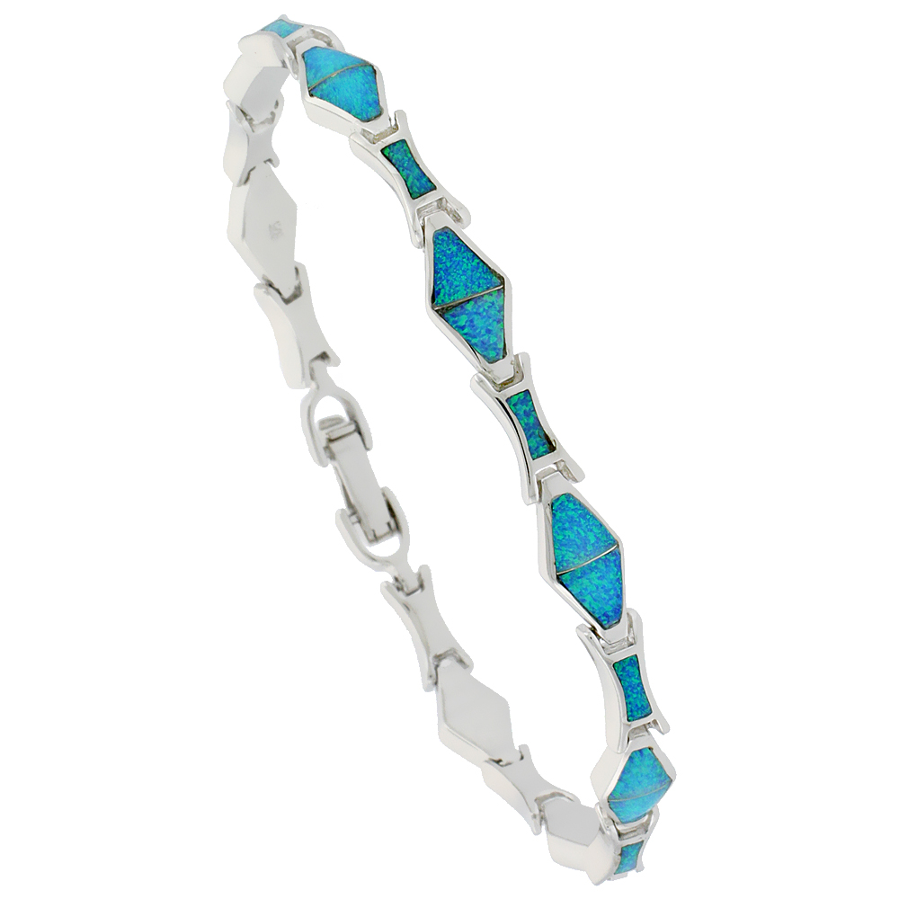Sterling Silver Synthetic Opal Bracelet Diamond Shaped Links, 7 1/4 inch long