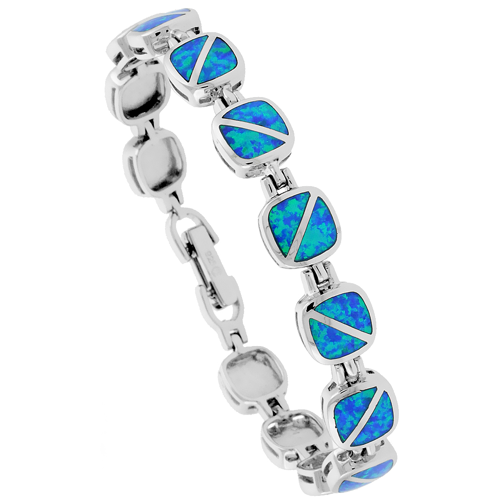 Sterling Silver Synthetic Opal Bracelet Square Links Rounded edges, 7 1/4 inch long