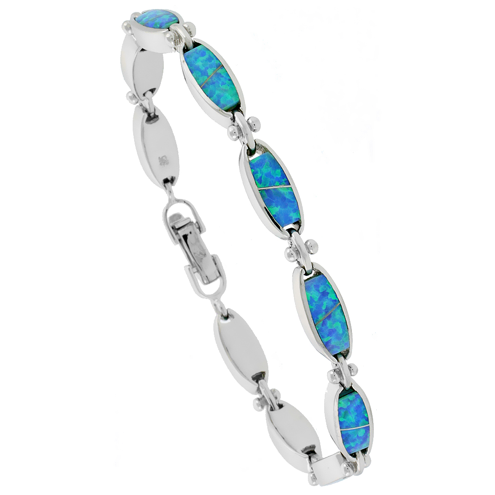 Sterling Silver Synthetic Opal Bracelet with Oval Links, 7 1/4 inch long