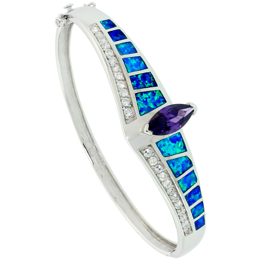 Sterling Silver Bangle Bracelet Synthetic Opal Inlay Marquise Cut Amethyst CZ Stone 1/2 inch wide